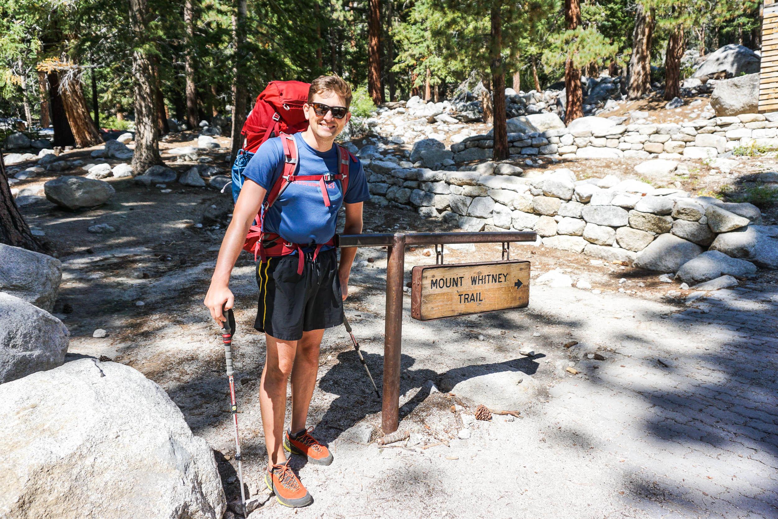 hiker at mt whitney trailhead